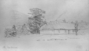 Pencil sketch by J.C. Richmond of the second Top House in 1863. Sketch housed in the Nelson Provincial Museum.